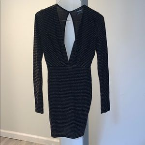 Monaco Plunge Long Sleeve Sparkly Mini Dress
